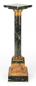 Decorative Arts, Continental, A CONTINENTAL MARBLE AND GILT BRONZE PEDESTAL. 20th century. 45-1/4inches high (114.9 cm). ...