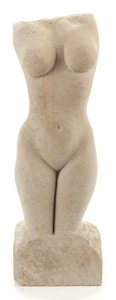 Fine Art - Sculpture, American, PABLO SOLOMON (American, b. 1947). Untitled (nude), 2003.Limestone. 27 inches (68.6 cm) high. Signed and dated on base:...