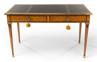 A LOUIS XVI-STYLE MAHOGANY PARQUETRY AND GILT BRONZE MOUNTED BUREAU PLAT 20th century 30-1/4 x 51 x 25 inches