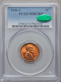 Lincoln Cents: , 1946-S 1C MS67 Red PCGS. CAC. PCGS Population (74/0). NGC Census: (563/0). Mintage: 198,100,000. Numismedia Wsl. Price for ...