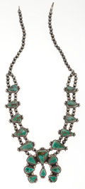 Estate Jewelry:Necklaces, Navajo, Silver, Turquoise Squash Blossom Necklace. ...