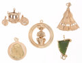Estate Jewelry:Pendants and Lockets, Nephrite Jade, Gold Charms. ... (Total: 5 Items)