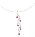Estate Jewelry:Necklaces, Garnet, Diamond, White Gold Necklace. ...