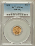 Commemorative Gold: , 1916 G$1 McKinley MS64 PCGS. PCGS Population (1390/1669). NGCCensus: (762/875). Mintage: 9,977. Numismedia Wsl. Price for ...