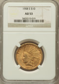 Indian Eagles: , 1908-S $10 AU53 NGC. NGC Census: (78/495). PCGS Population(41/433). Mintage: 59,850. Numismedia Wsl. Price for problem fre...