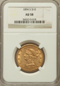 Liberty Eagles: , 1894-S $10 AU58 NGC. NGC Census: (39/21). PCGS Population (7/11).Mintage: 25,000. Numismedia Wsl. Price for problem free N...