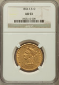 Liberty Eagles: , 1854-S $10 AU53 NGC. NGC Census: (59/138). PCGS Population (29/32).Mintage: 123,826. Numismedia Wsl. Price for problem fre...