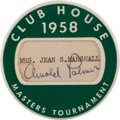 Golf Collectibles:Autographs, 1958 Masters Tournament Clubhouse Badge Signed by Winner Arnold Palmer. ...