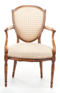 Decorative Arts, French:Other , A LOUIS XVI-STYLE FRUITWOOD OPEN ARMCHAIR . Early 20th century . 37inches high (94.0 cm). PROPERTY FROM A PRIVATE TEXAS C...