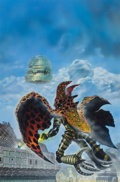 Pulp, Pulp-like, Digests, and Paperback Art, CHRIS FOSS (British, b. 1946). Ora:cle, paperback cover,1986. Mixed media on board. 29 x 18.25 in. (image). Monogrammed...