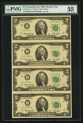 Fr. 1935-J* $2 1976 Federal Reserve Notes. Uncut Sheet of Four. PMG About Uncirculated 55