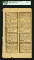 Colonial Notes:Rhode Island, Rhode Island July 2, 1780 Uncut Half Sheet of Eight $1, $2, $3, $4,$5, $7, $8 and $20 PCGS Choice New 63.. ...