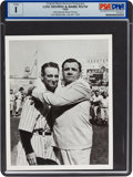 Baseball Collectibles:Photos, 1939 Babe Ruth at the Lou Gehrig Farewell News Photograph, PSA/DNAType 1....
