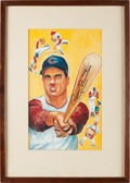 Autographs:Others, Late 1950's Rocky Colavito Original Artwork by Lou Darvas, Signedby Colavito....