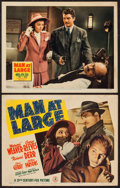 """Movie Posters:Mystery, Man at Large (20th Century Fox, 1941). Title Lobby Card and LobbyCard (11"""" X 14""""). Mystery.. ... (Total: 2 Items)"""