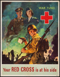 "Movie Posters:War, World War II Red Cross War Fund (American Red Cross, 1943). Poster(22"" X 28"") ""Your Red Cross is At His Side."" War.. ..."