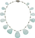 Estate Jewelry:Necklaces, Aquamarine, Diamond, Silver Necklace. ...