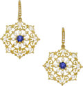 Estate Jewelry:Earrings, Cynthia Bach Sapphire, Diamond, Gold Earrings. ...
