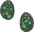 Estate Jewelry:Earrings, Yossi Harari Tsavorite, Diamond, Gold, Silver Earrings. ...