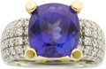Art Glass:Daum, Jean Francois Albert Tanzanite, Diamond, Gold Ring. ...