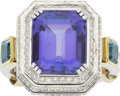 Estate Jewelry:Rings, Aron Suley Tanzanite, Aquamarine, Diamond Gold Ring. ...
