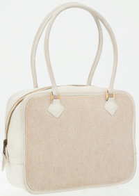 Hermes 28cm White Clemence Leather & Toile Plume Bag with Gold Hardware