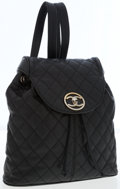 Luxury Accessories:Bags, Chanel Black Quilted Caviar Leather Backpack with Gold Hardware....