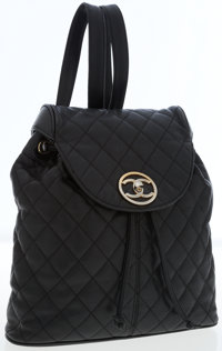 Chanel Black Quilted Caviar Leather Backpack with Gold Hardware