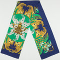 """Luxury Accessories:Accessories, Hermes Blue, Green, & Gold """"Proues"""" by Philippe Ledoux Silk Stole. ..."""