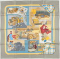"Luxury Accessories:Accessories, Hermes Gray, Yellow, & Blue ""L'Elegance et le Confort enAutomobile"" by Caty Latham Silk Scarf. ..."