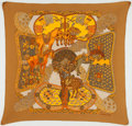 "Luxury Accessories:Accessories, Hermes Gold, Orange & Yellow ""Art des Steppes,"" by Annie FaivrePlisse Pleated Silk Scarf. ..."
