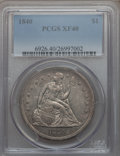 Seated Dollars: , 1840 $1 XF40 PCGS. PCGS Population (49/192). NGC Census: (17/199).Mintage: 61,005. Numismedia Wsl. Price for problem free ...