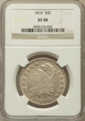 Bust Half Dollars: , 1810 50C XF40 NGC. NGC Census: (46/512). PCGS Population (103/391).Mintage: 1,276,276. Numismedia Wsl. Price for problem f...
