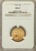 Indian Half Eagles: , 1912 $5 MS62 NGC. NGC Census: (3746/1499). PCGS Population(2713/1793). Mintage: 790,000. Numismedia Wsl. Price for problem...