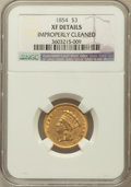 Three Dollar Gold Pieces: , 1854 $3 -- Improperly Cleaned -- NGC Details. XF. NGC Census:(79/3592). PCGS Population (84/2769). Mintage: 138,618. Numis...