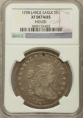 Early Dollars: , 1798 $1 Large Eagle, Pointed 9 -- Holed -- NGC Details. XF. NGCCensus: (177/532). PCGS Population (208/358). Mintage: 327,...