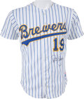 Baseball Collectibles:Uniforms, 1990 Robin Yount Game Worn Signed Milwaukee Brewers Jersey....
