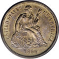 Seated Dimes, 1866-S 10C MS63 PCGS....