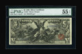 Large Size:Silver Certificates, Fr. 268 $5 1896 Silver Certificate PMG About Uncirculated 55EPQ....