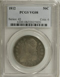 Bust Half Dollars: , 1812 50C VG8 PCGS. PCGS Population (1/553). NGC Census: (3/592).Mintage: 1,628,059. Numismedia Wsl. Price for NGC/PCGS coi...