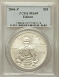 Modern Issues, 2004-P $1 Edison Silver Dollar MS69 PCGS. PCGS Population(2241/671). NGC Census: (1780/857). Numismedia Wsl. Price for pr...