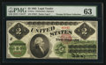 Large Size:Legal Tender Notes, Fr. 41a $2 1862 Legal Tender PMG Choice Uncirculated 63.. ...