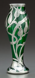 Art Glass:Other , A LA PIERRE SILVER OVERLAY GREEN GLASS VASE . La Pierre Mfg. Co.,New York, New York & Newark, New Jersey, circa 1900. Marks...