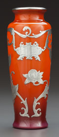 Art Glass:Other , AN AMERICAN SILVER OVERLAY GLASS VASE . Circa 1900. Marks: 668,Sterling. 6 inches high (15.2 cm). ...