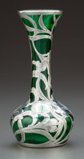 Art Glass:Other , AN ALVIN SILVER OVERLAY GREEN GLASS VASE . Alvin Corporation,Providence, Rhode Island, circa 1900. Marks: G 3483999/100...