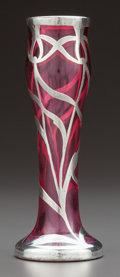 Art Glass:Other , AN AMERICAN CRANBERRY GLASS AND SILVER OVERLAY VASE . Circa 1900.Marks: Sterling 105. 5 inches high (12.7 cm). ...
