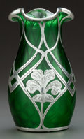 Art Glass:Steuben, A STEUBEN QUILTED GREEN GLASS VASE WITH LA PIERRE SILVER OVERLAY.Steuben Glass, Corning, New York, circa 1900. La Pierre Mf...