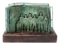 Bronze:Contemporary, PAL KEPENYES (Hungarian/Mexican, 20th/21st Centuries).Figures. Bronze with green patina on wood. 19 inches (48.3cm). ...