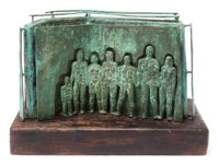 PAL KEPENYES (Hungarian/Mexican, 20th/21st Centuries) Figures Bronze with green patina on wood 19