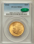 Indian Eagles: , 1932 $10 MS64 PCGS. CAC. PCGS Population (8937/1250). NGC Census:(11158/2558). Mintage: 4,463,000. Numismedia Wsl. Price f...